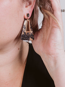 Gold Dean Metallic Snake Print Post Earring