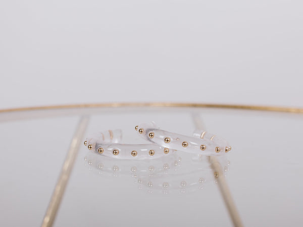 Clear Valdez Clear Hoop with Gold Studs