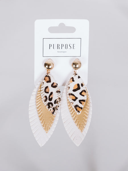 Ivory Leopard Feather Earring