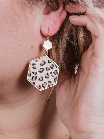 Ivory Leopard Print Hexagon Earring