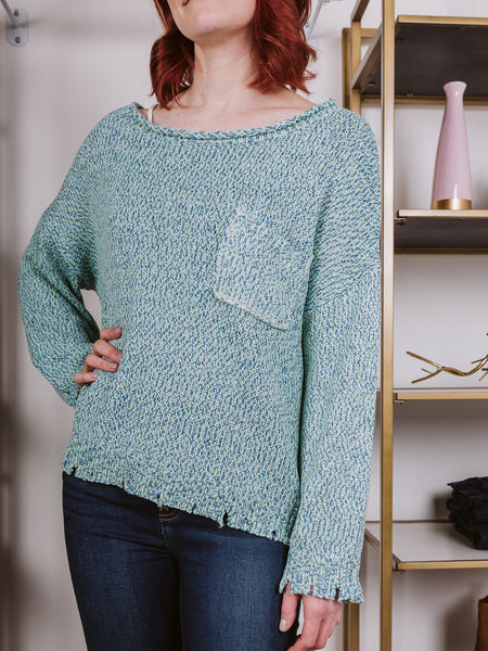 Blue & Lime Mixed Color Loose Fit Sweater