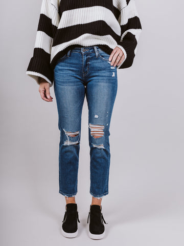 Yesterday Mid Rise Distressed Crop Straight Jean
