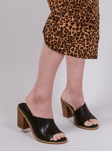 Black Haven Open Toe Block Heel