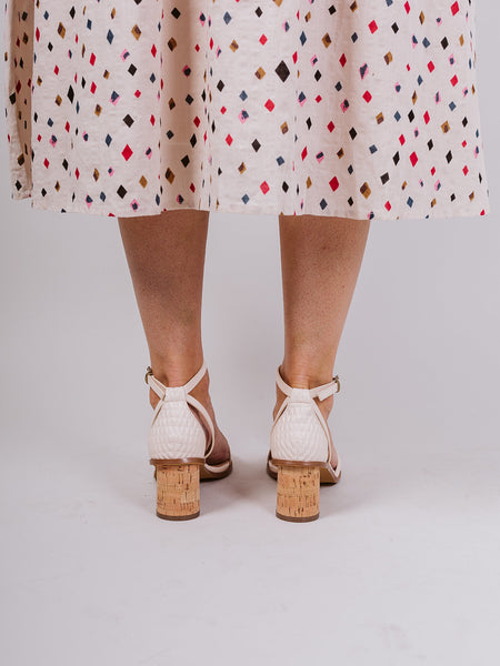 Ivory Roselyn Strappy Cork Heel