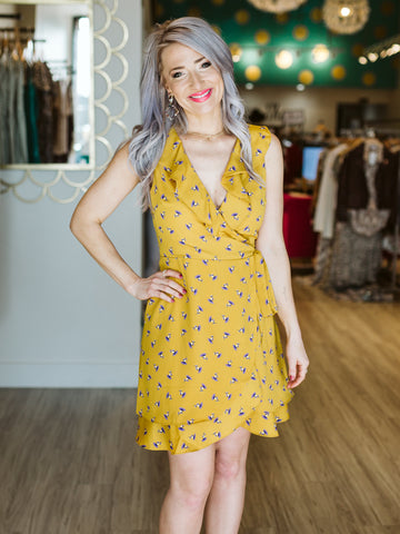 Mustard Floral Sleeveless Wrap Dress