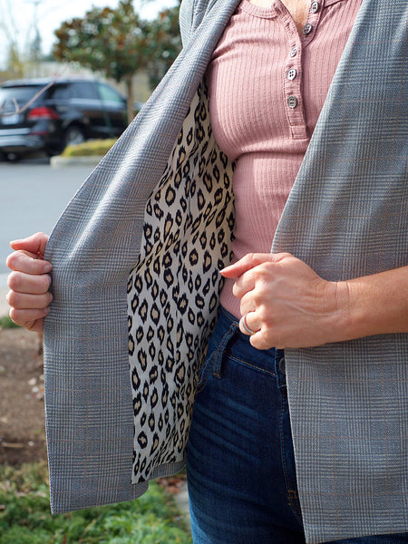 Taupe Plaid 3/4 Sleeve Blazer