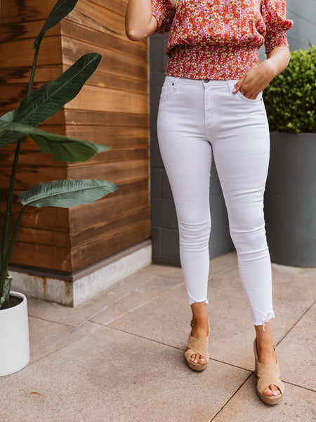 Optic White Connie High Rise Ankle Skinny