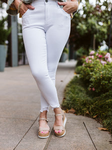KUT Petite White Connie High Rise Ankle Skinny