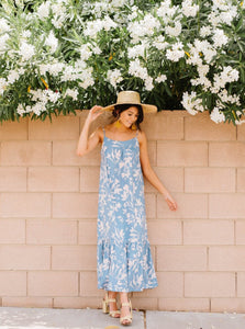 Blue & Floral Printed Midi Dress