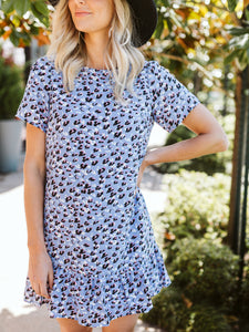 Blue Cheetah Print Dress