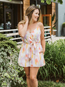 Blush & Coral Printed Cocktail Romper
