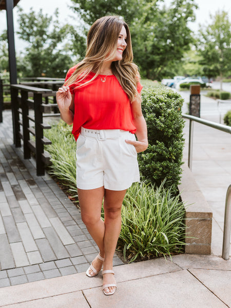 White Belted High Waisted Shorts