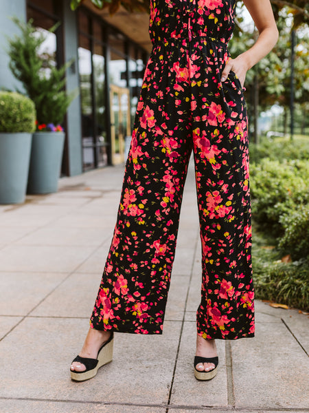 Black Combo Wide Legged Jumpsuit