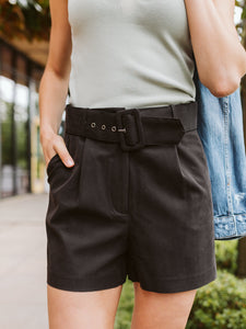 Black Belted High Waisted Shorts