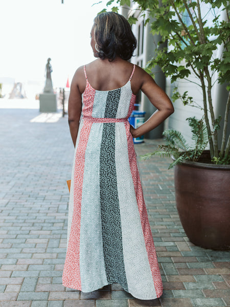 Rust & Sage Mixed Print Maxi Dress
