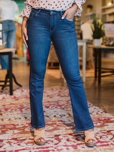 KUT Notified Ellie High Rise Flare Denim