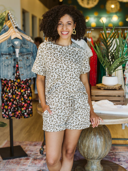 Oatmeal & Brown Short Sleeve Leopard Top