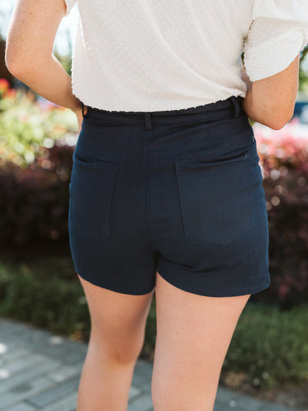 Navy Rope Waist Tie Detailed Shorts