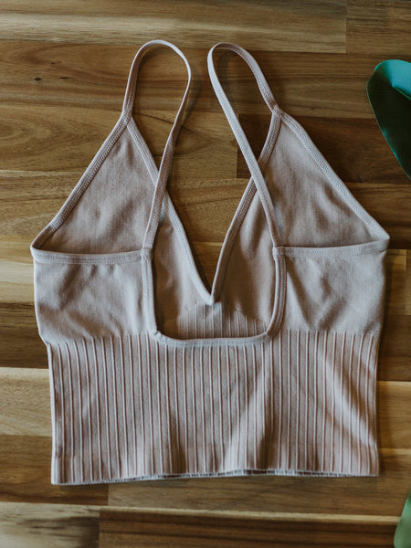 Light Taupe Seamless Ribbed V-Neck Spaghetti Brami