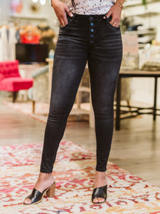 KUT Enthused Wash Mia High Rise Button Fly Skinny Jeans