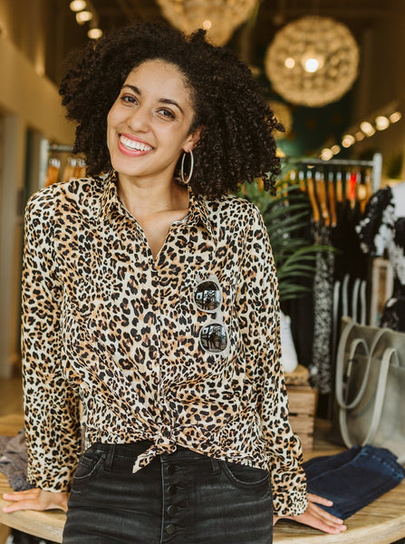 Taupe & Black Animal Print Button Up Shirt