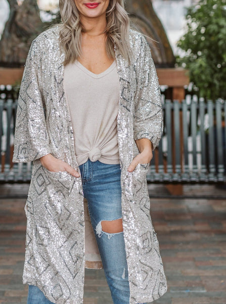 Champagne Belted Sequin Duster
