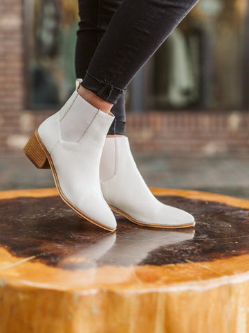Ivory Leather Bootie