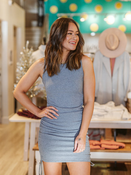 Grey Fitted Sleeveless Dress