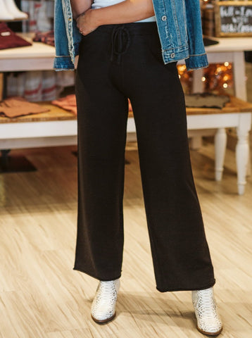 Black Draw String Waist Pants