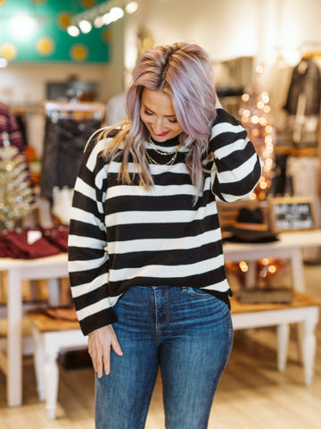 Black & Cream Stripped Longsleeve Top