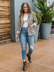 Taupe Animal Print Blazer