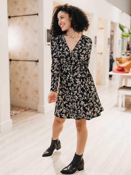 Black & Taupe Floral Longsleeve Wrap Dress