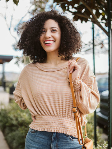 Taupe Ribbed Elastic Waist Sweater