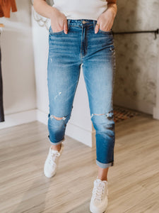 Candy Lights Distressed Mom Jean