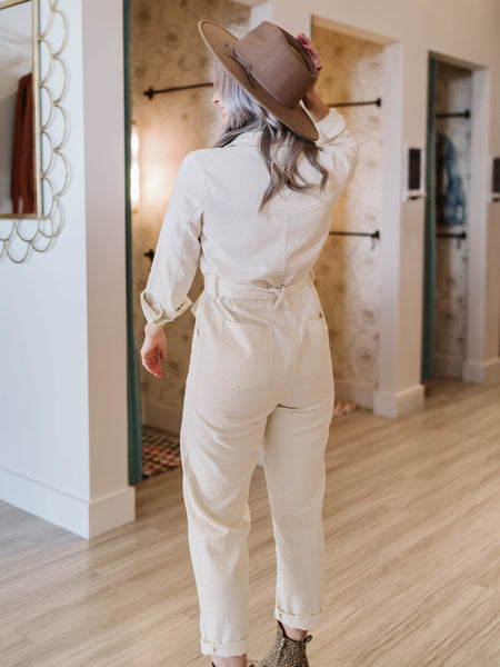 Cream Penny Utility Jumpsuit