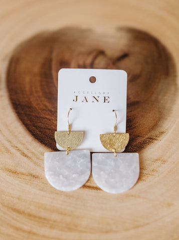 Lauren Ice White & Gold Earrings