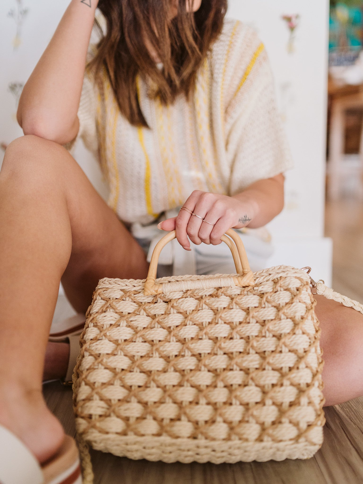 Straw Braid Square Tote Bag