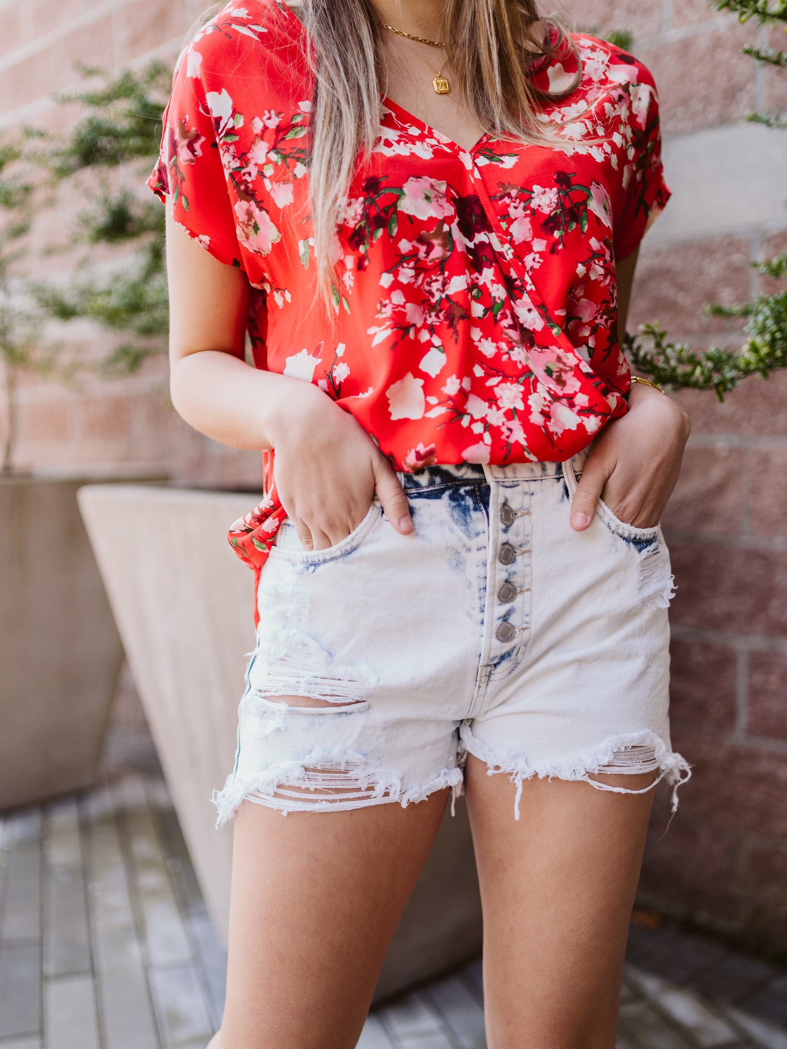 Carli Super High Rise Button Up Shorts