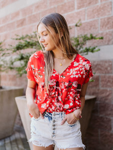 Red Stella Floral Top