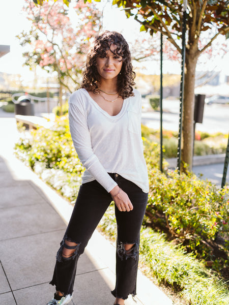 Free People White Betty Long Sleeve