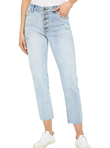 KUT Conserve Reese High Rise Button Fly Ankle Straight Jean