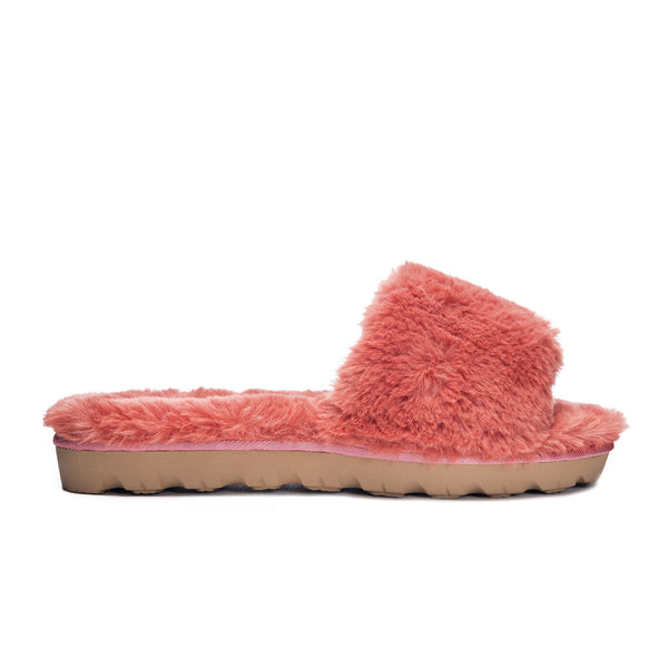 Coral Rally Faux Fur Slide