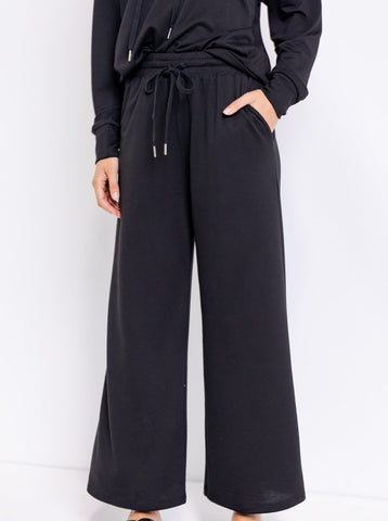 Black Terry Wide Pants