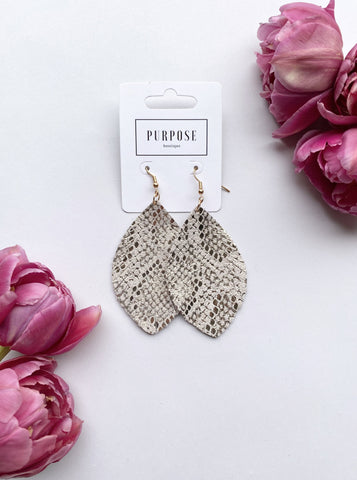 Rose Gold Metallic Snake Print Feather Earring