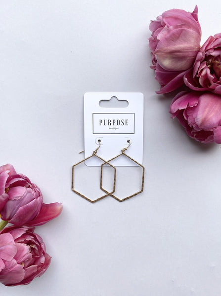 Gold Metcalfe Hammered Hexagon Earring