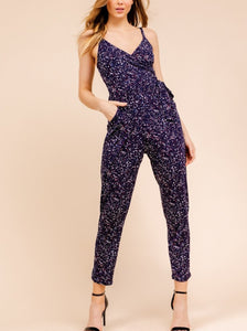 Navy Multi Surplice Side Tie Tapered Leg Jumpsuit