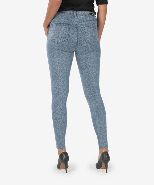 KUT Leopard Connie High Rise Ankle Skinny Jeans