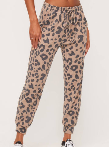 Taupe Animal Brushed Kashmir Jogger