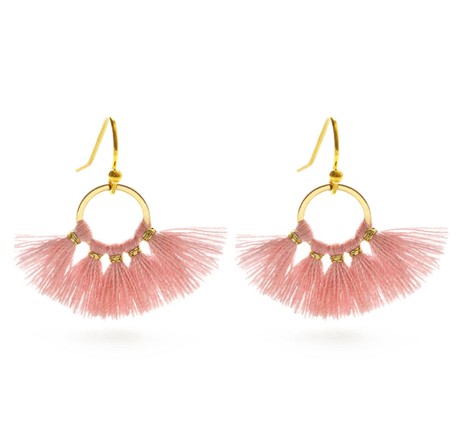 Dusted Pink Tiny Tassel Earrings