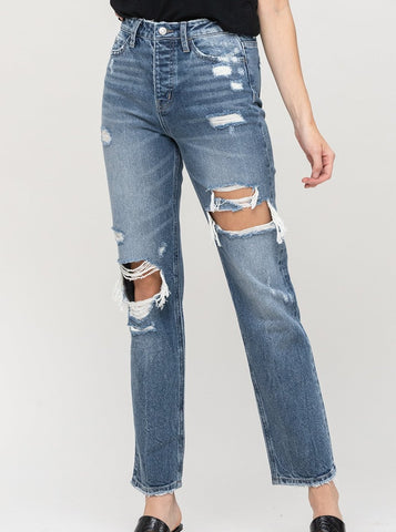 Mase Super High Rise Distressed Straight Jean